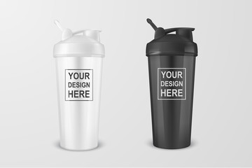 Vector realistic 3d white and black empty glossy metal shaker for sports nutrition icon set closeup on white background. Design template of packaging mockup for graphics. Front view