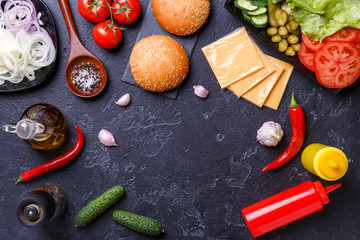Image on top of ingredients for hamburgers