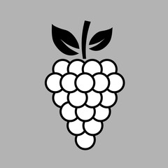 Simple, flat, black and white grapes icon/illustration. Isolated on a grey background