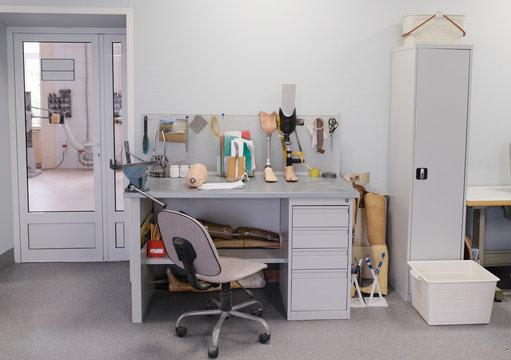 Desktop in workshop creating prostheses