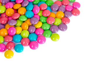 colorful chocolate coated candy isolated on white background. with copy space