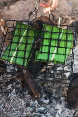 Grilled meat in the banana leaf