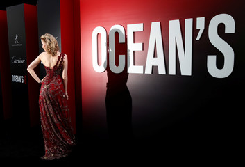 "Actress Charlotte Kirk poses as she arrives at the world premiere of the film ""Ocean's 8"" at Alice Tully Hall in New York City"