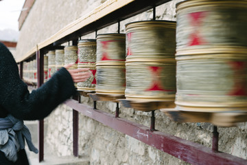 Spinning Prayer Wheels. Ladakh, North India.