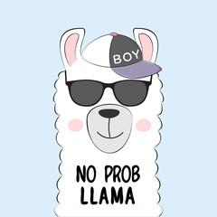 Cute lama in a cap and inscription no prob llama