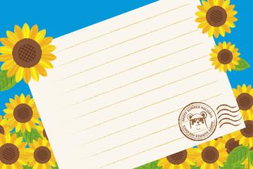 暑中見舞葉書デザイン(横)|ヒマワリと便箋の背景イラスト|夏のイメージ