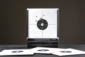 Trapped - shooting range equipment at the shooting position with a shield