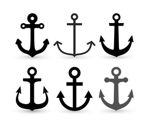 Set of Anchor icon. Vector illustration. Isolated on white background