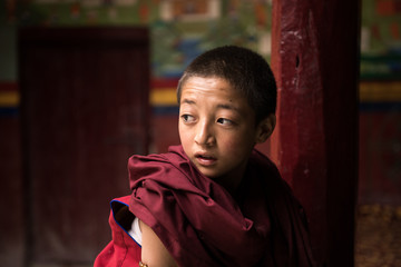 Close-up Portrait of little boy Monk in the monastery