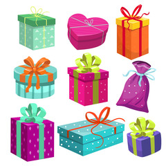 Set of gift boxes. Vector