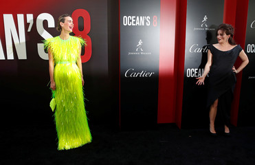 """Cast members Sarah Paulson and Helena Bonham Carter pose as they arrives at the world premiere of the film """"Ocean's 8"""" at Alice Tully Hall in New York City"""