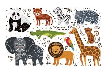 Jungle animals hand draw