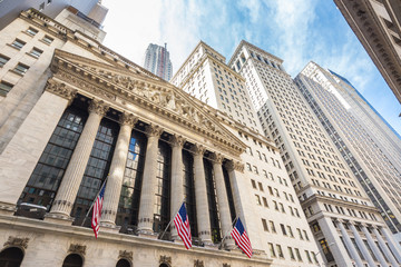 Exterior of New york Stock Exchange, largest stock exchange in world by market capitalization and most powerful global financial institute. Wall street, lower Manhattan, New York City, USA.