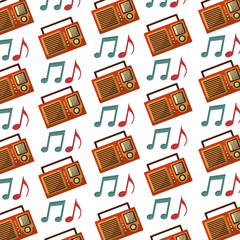 radio and notes music pattern background retro style vector illustration design