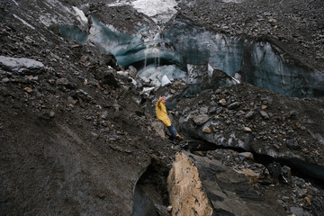 Person in rock glacier