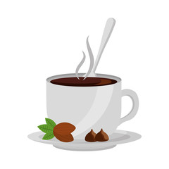 chocolate cup with spoon on dish vector illustration