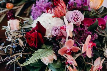 close up of floral arrangement
