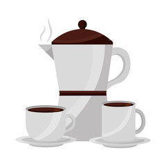 coffee maker cup and mug ceramic dishes vector illustration