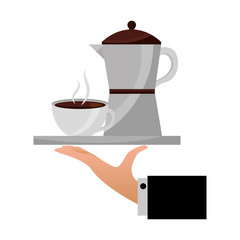 hand holding coffee maker and cup on tray vector illustration