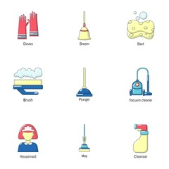 Sweeping icons set. Cartoon set of 9 sweeping vector icons for web isolated on white background