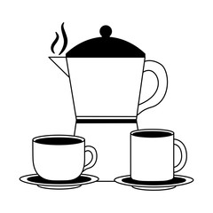 coffee maker cup and mug ceramic dishes vector illustration black and white black and white
