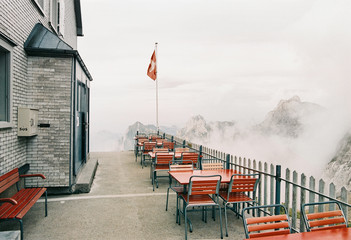 Traditional Mountain Refuge in Switzerland on Moody Summer Evening Shot on Film