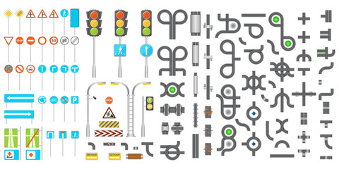 Mega collection of road junctions and road signs. Vector illustration.