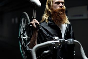 Nordic man on night bike ride