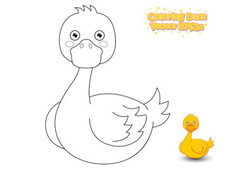 Coloring The Cute Cartoon Duck. Educational Game for Kids. Vector illustration.