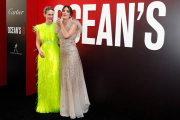 "Cast members Sandra Bullock and Sarah Paulson pose as they arrive at the world premiere of the film ""Ocean's 8"" at Alice Tully Hall in New York"