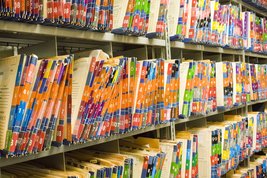 Rows of Colorful Medical Records - Patient Charts