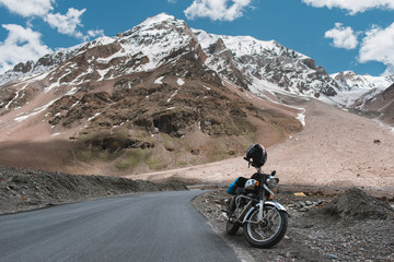 Motorbike Parked On A Mountain Road