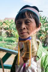 Portrait of Long Neck Senior Lady in Myanmar