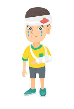 Caucasian injured boy with broken arm and bandaged head. Crying little boy having head and arm injury. Vector sketch cartoon illustration isolated on white background.