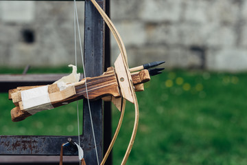Wooden crossbows on display