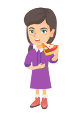 Cheerful caucasian girl eating tasty pizza. Full length of little girl holding a piece of pizza in hand and stroking her belly. Vector sketch cartoon illustration isolated on white background