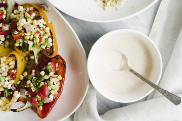 Grilled Mexican Street Corn Stuffed Peppers
