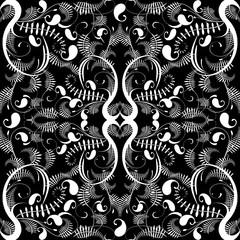 Vintage black and white paisley seamless pattern.