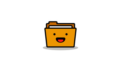 Folder Icon in Line Art Style Flat Design With Happy Smiling Face