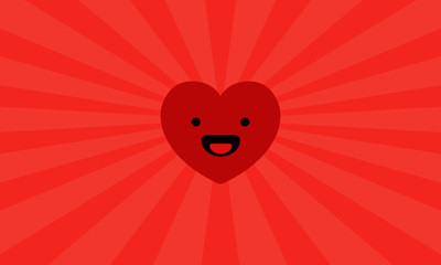 Heart Icon Vector Illustration with Happy Smiley Face