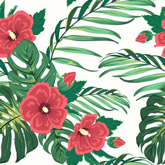 Exotic tropical hawaiian floral greenery seamless pattern. Bright red colorful hibiscus flowers. Jungle palm tree leaf branches. Big green monstera leaves. White background.