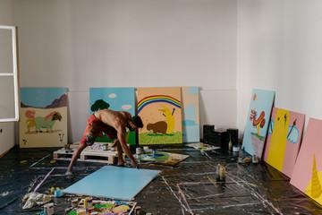 An artist painting