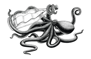 Octopus holding bottle hand drawing vintage clip art