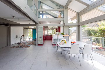 Interior of a modern kitchen and dining area