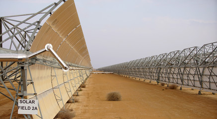 industrial landscape solar batteries in the desert