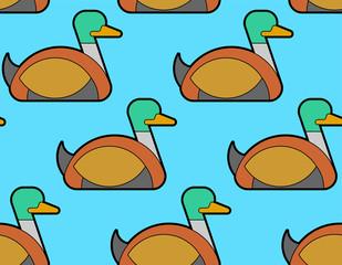 Drake duck pattern seamless. waterfowl bird background. Vector illustration