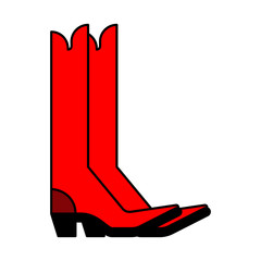 Red cowboy boots. Country style shoes. Vector illustration