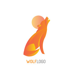 Wolf Logo | howling wolf | with golden ratio technique and gradient color