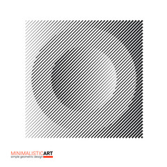 Art of modern minimalistic design. Halftone geometric pattern for logo, cover. Simple black and white shape, modernism style. Circle with square frame isolated on white background vector illustration