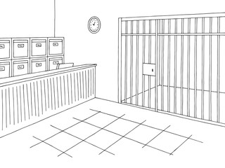 Police office graphic interior black white sketch illustration vector